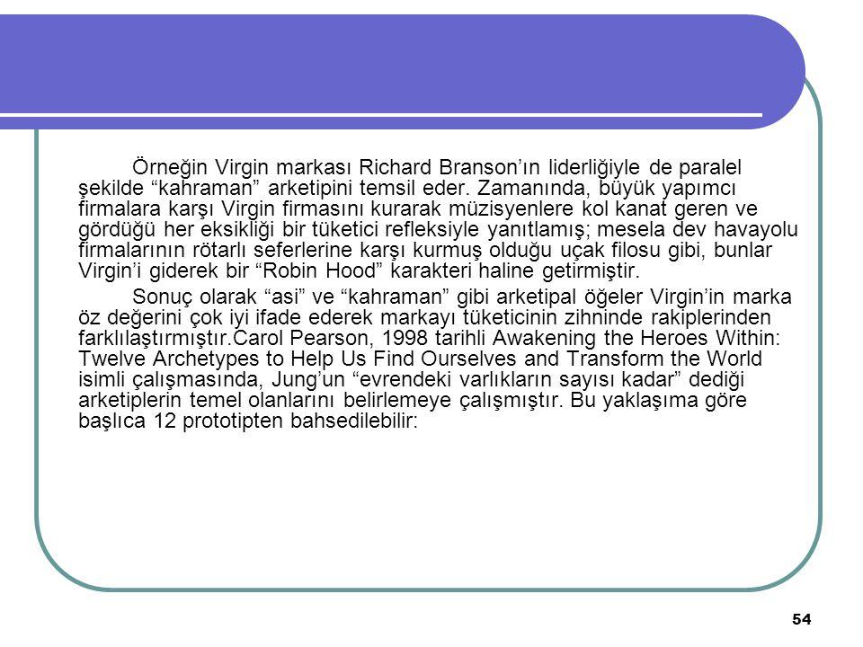 """54 Örneğin Virgin markası Richard Branson'ın liderliğiyle de paralel şekilde """"kahraman"""" arketipini temsil eder. Zamanında, büyük yapımcı firmalara kar"""