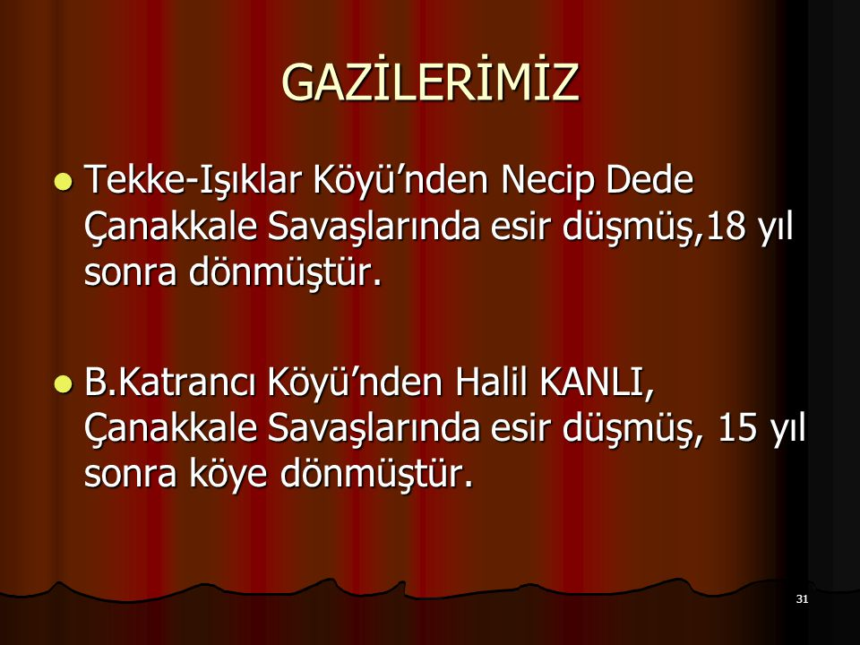 31 GAZİLERİMİZ Tekke-Işıklar Köyü'nden Necip Dede Çanakkale Savaşlarında esir düşmüş,18 yıl sonra dönmüştür.