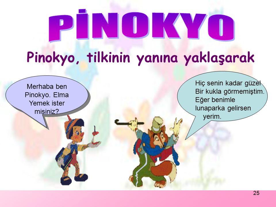 24 Pinokyo, Jimi'yle birlikte okula giderken, yolda bir tilkiye rastlamışlar.