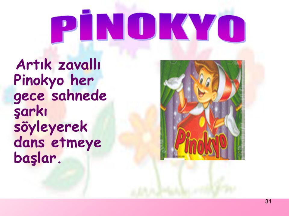 30 Akşam olunca, lunaparkın sahibi Pinokyo'nun yanına gelerek: -Artık eğlence bitti.Şimdi başkalarını eğlendirme sırası sende. Deyip Pinokyo'yu lunapa