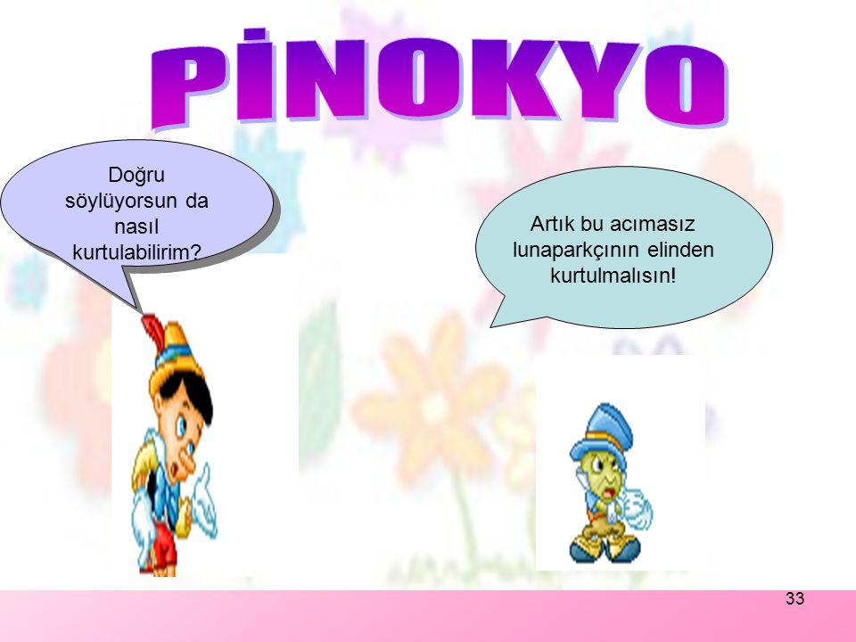32 Pinokyo sayesinde lunaparkçı çok para kazanmaktadır ve Pinokyo'ya tek kuruş bile vermez. Pinokyo artık bu şamatalı hayattan bıkmıştır. Babasını ve