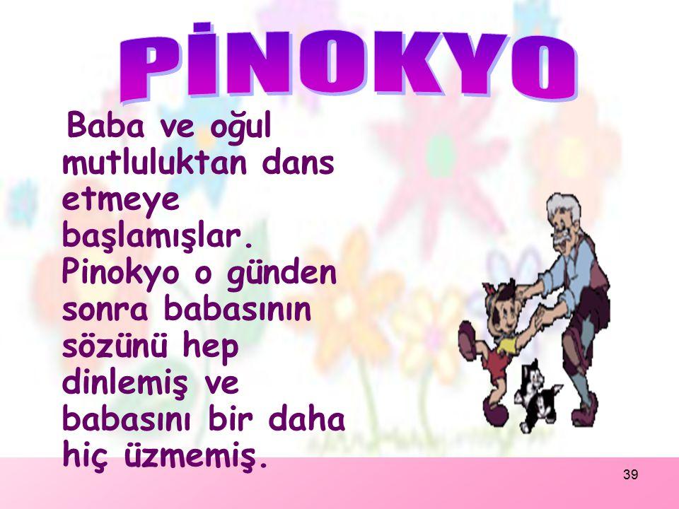 38 Pinokyo periye söz vermiş.Bunun üzerine peri Pinokyo'yu eski haline dönüştürmüş ve Pinokyo kendini babasının atölyesinde bulmuş. Kaybolduğu günden