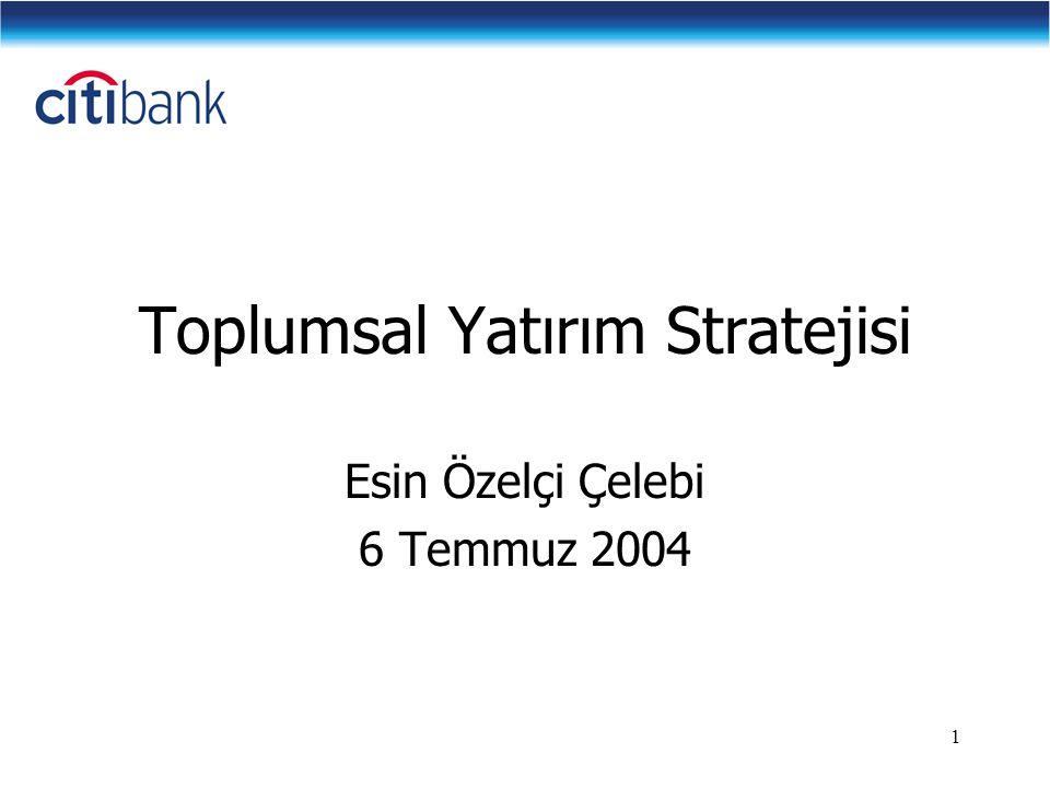 1 Toplumsal Yatırım Stratejisi Esin Özelçi Çelebi 6 Temmuz 2004