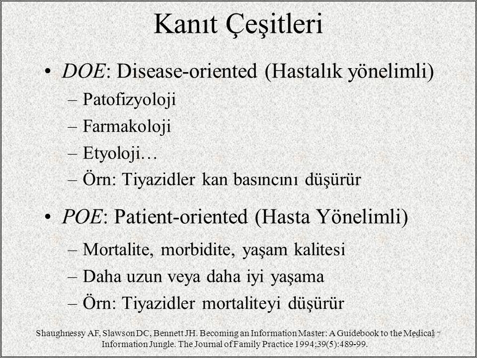 Kanıt Çeşitleri DOE: Disease-oriented (Hastalık yönelimli) –Patofizyoloji –Farmakoloji –Etyoloji… –Örn: Tiyazidler kan basıncını düşürür POE: Patient-