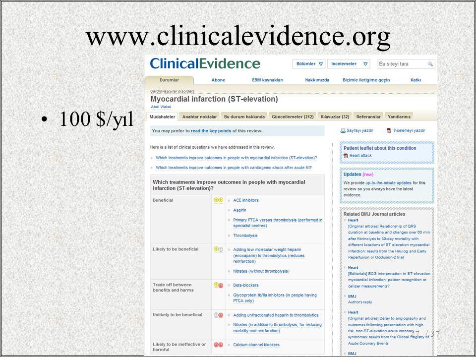 www.clinicalevidence.org 100 $/yıl 27/ 37