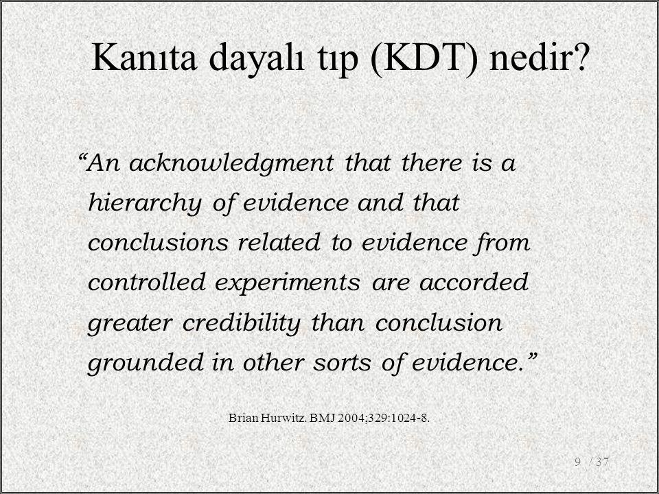 Uygulamada KDT'nin yeri nedir.