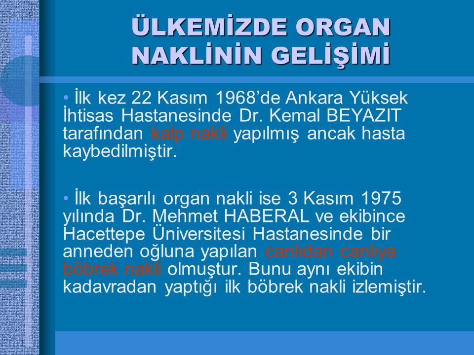 ÜLKEMİZDE ORGAN NAKLİNİN GELİŞİMİ İlk kez 22 Kasım 1968'de Ankara Yüksek İhtisas Hastanesinde Dr.