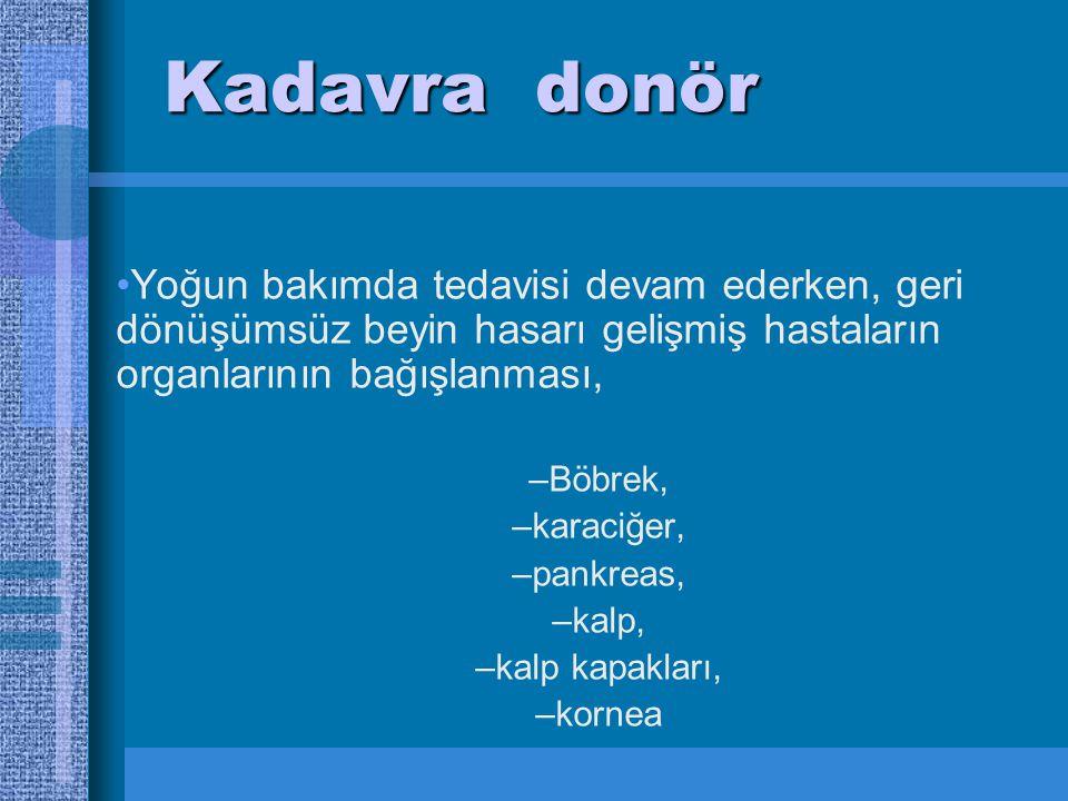Kadavra donör Yoğun bakımda tedavisi devam ederken, geri dönüşümsüz beyin hasarı gelişmiş hastaların organlarının bağışlanması, –Böbrek, –karaciğer, –pankreas, –kalp, –kalp kapakları, –kornea