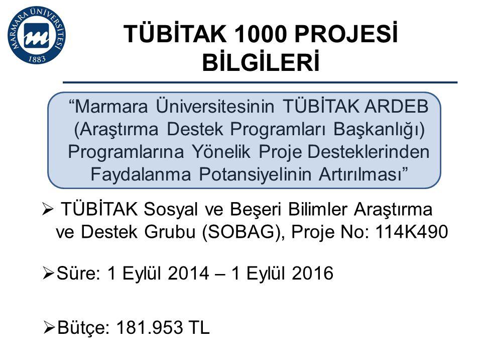  Bütçe: 181.953 TL  TÜBİTAK Sosyal ve Beşeri Bilimler Araştırma ve Destek Grubu (SOBAG), Proje No: 114K490  Süre: 1 Eylül 2014 – 1 Eylül 2016 TÜBİT