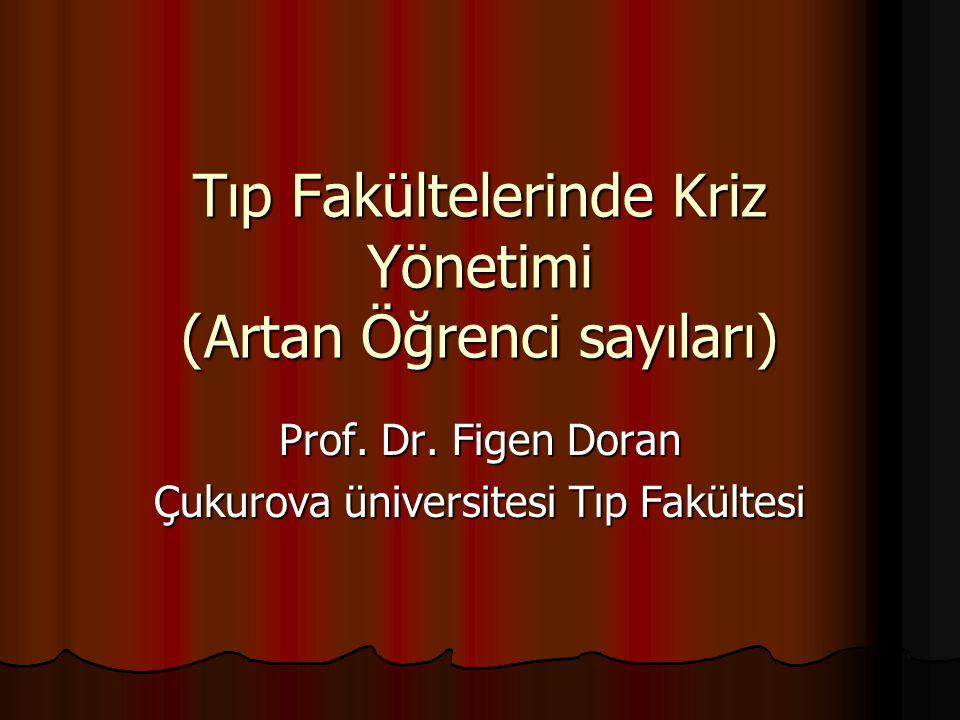 Tıp Fakültelerinde Kriz Yönetimi (Artan Öğrenci sayıları) Prof. Dr. Figen Doran Çukurova üniversitesi Tıp Fakültesi
