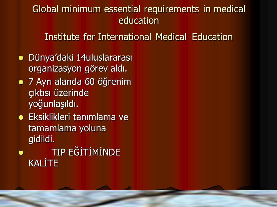 Global minimum essential requirements in medical education Institute for International Medical Education Dünya'daki 14uluslararası organizasyon görev