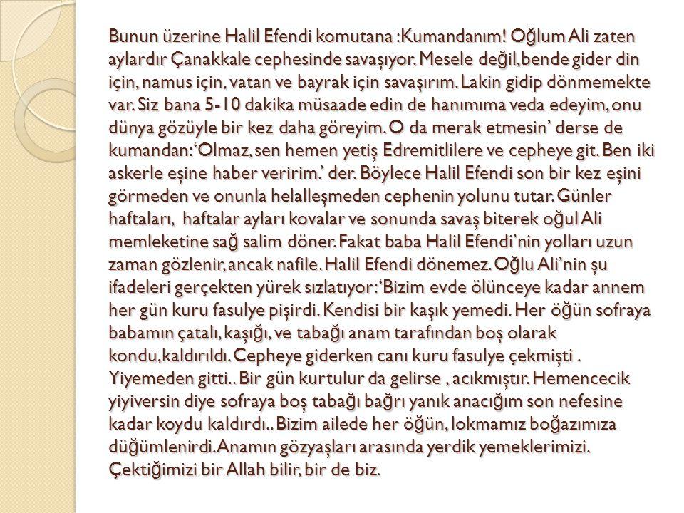Bunun üzerine Halil Efendi komutana :Kumandanım! O ğ lum Ali zaten aylardır Çanakkale cephesinde savaşıyor. Mesele de ğ il,bende gider din için, namus