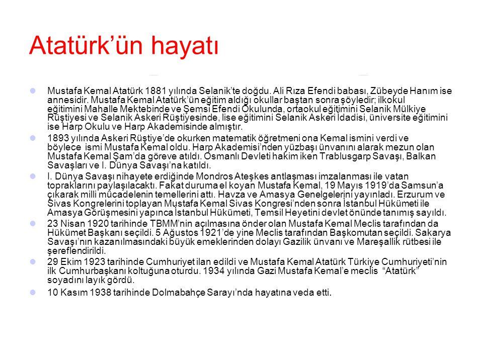 Atatürk'ün hayatı Mustafa Kemal Atatürk 1881 yılında Selanik'te doğdu. Ali Rıza Efendi babası, Zübeyde Hanım ise annesidir. Mustafa Kemal Atatürk'ün e
