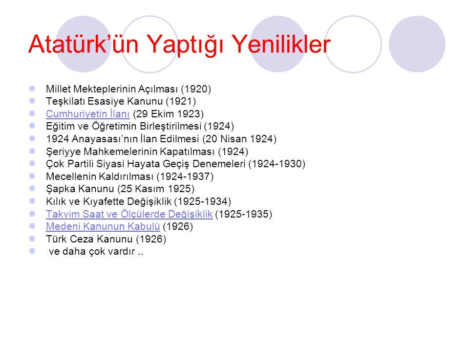 Atatürk'ün Yaptığı Yenilikler Millet Mekteplerinin Açılması (1920) Teşkilatı Esasiye Kanunu (1921) Cumhuriyetin İlanı (29 Ekim 1923) Cumhuriyetin İlan