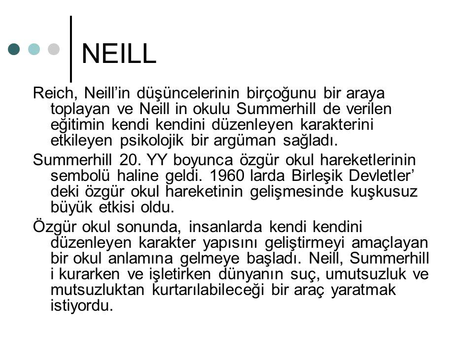 NEILL Reich, Neill'in düşüncelerinin birçoğunu bir araya toplayan ve Neill in okulu Summerhill de verilen eğitimin kendi kendini düzenleyen karakterini etkileyen psikolojik bir argüman sağladı.