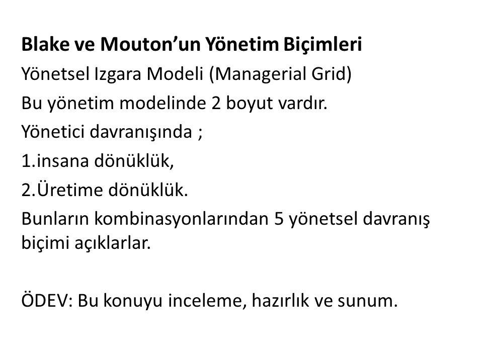 Blake ve Mouton'un Yönetim Biçimleri Yönetsel Izgara Modeli (Managerial Grid) Bu yönetim modelinde 2 boyut vardır. Yönetici davranışında ; 1.insana dö