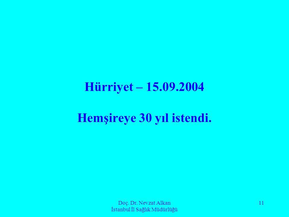 Doç. Dr. Nevzat Alkan İstanbul İl Sağlık Müdürlüğü 11 Hürriyet – 15.09.2004 Hemşireye 30 yıl istendi.