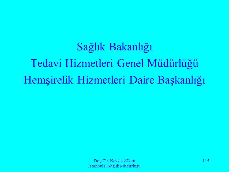 Doç. Dr. Nevzat Alkan İstanbul İl Sağlık Müdürlüğü 115 Sağlık Bakanlığı Tedavi Hizmetleri Genel Müdürlüğü Hemşirelik Hizmetleri Daire Başkanlığı