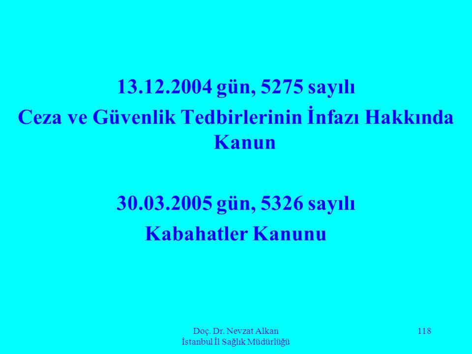 Doç. Dr. Nevzat Alkan İstanbul İl Sağlık Müdürlüğü 118 13.12.2004 gün, 5275 sayılı Ceza ve Güvenlik Tedbirlerinin İnfazı Hakkında Kanun 30.03.2005 gün