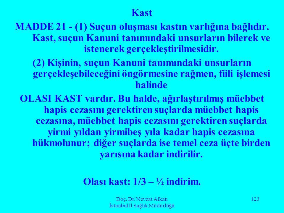 Doç. Dr. Nevzat Alkan İstanbul İl Sağlık Müdürlüğü 123 Kast MADDE 21 - (1) Suçun oluşması kastın varlığına bağlıdır. Kast, suçun Kanuni tanımındaki un
