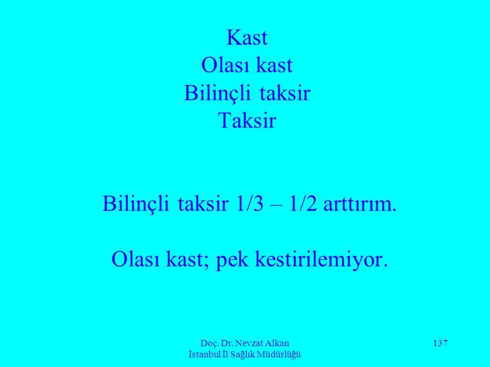 Doç. Dr. Nevzat Alkan İstanbul İl Sağlık Müdürlüğü 137 Kast Olası kast Bilinçli taksir Taksir Bilinçli taksir 1/3 – 1/2 arttırım. Olası kast; pek kest