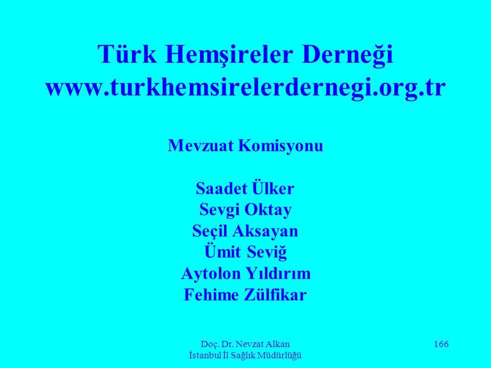 Doç. Dr. Nevzat Alkan İstanbul İl Sağlık Müdürlüğü 166 Türk Hemşireler Derneği www.turkhemsirelerdernegi.org.tr Mevzuat Komisyonu Saadet Ülker Sevgi O
