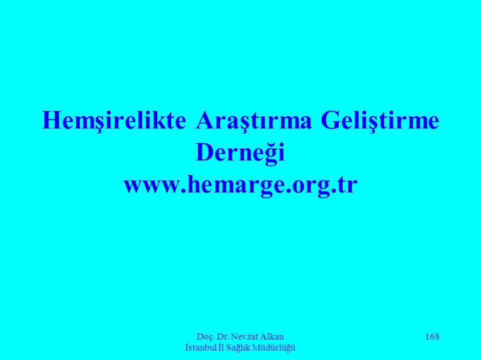 Doç. Dr. Nevzat Alkan İstanbul İl Sağlık Müdürlüğü 168 Hemşirelikte Araştırma Geliştirme Derneği www.hemarge.org.tr