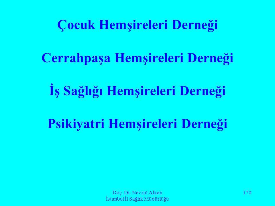 Doç. Dr. Nevzat Alkan İstanbul İl Sağlık Müdürlüğü 170 Çocuk Hemşireleri Derneği Cerrahpaşa Hemşireleri Derneği İş Sağlığı Hemşireleri Derneği Psikiya