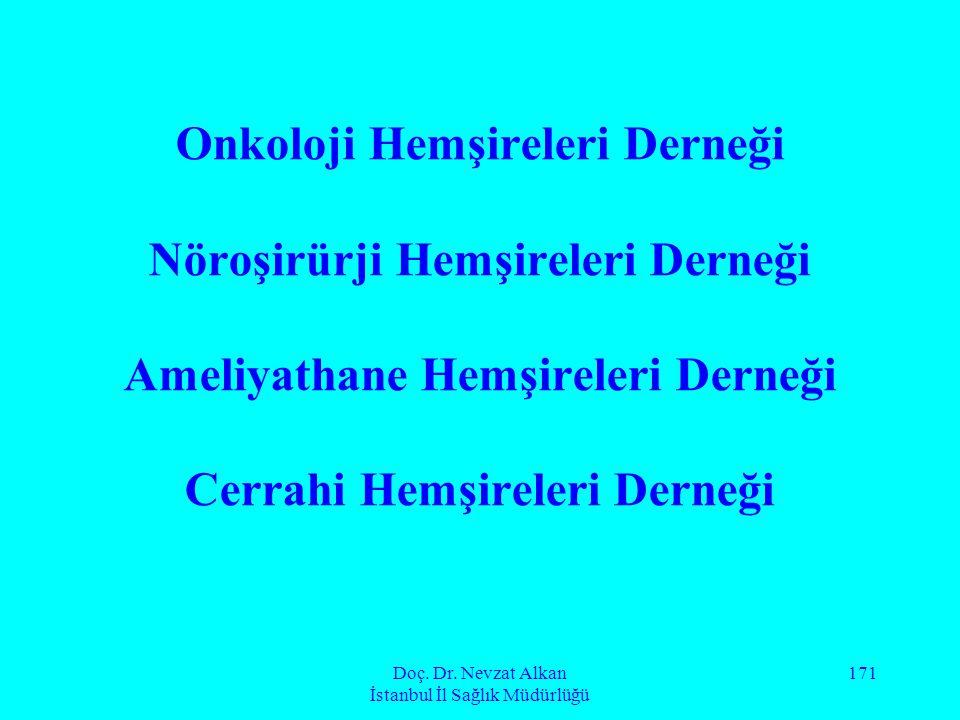 Doç. Dr. Nevzat Alkan İstanbul İl Sağlık Müdürlüğü 171 Onkoloji Hemşireleri Derneği Nöroşirürji Hemşireleri Derneği Ameliyathane Hemşireleri Derneği C