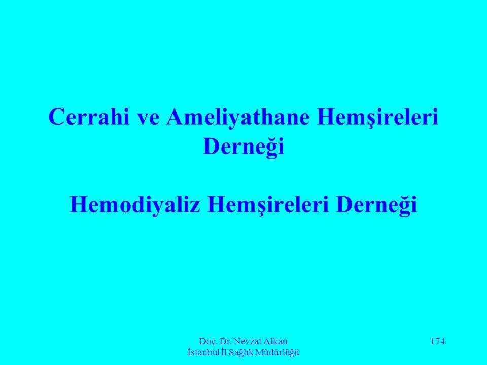 Doç. Dr. Nevzat Alkan İstanbul İl Sağlık Müdürlüğü 174 Cerrahi ve Ameliyathane Hemşireleri Derneği Hemodiyaliz Hemşireleri Derneği