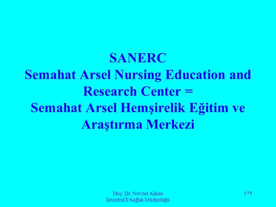 Doç. Dr. Nevzat Alkan İstanbul İl Sağlık Müdürlüğü 175 SANERC Semahat Arsel Nursing Education and Research Center = Semahat Arsel Hemşirelik Eğitim ve