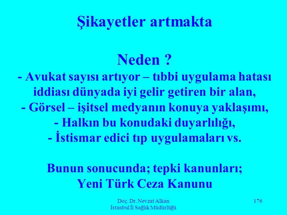 Doç. Dr. Nevzat Alkan İstanbul İl Sağlık Müdürlüğü 176 Şikayetler artmakta Neden ? - Avukat sayısı artıyor – tıbbi uygulama hatası iddiası dünyada iyi