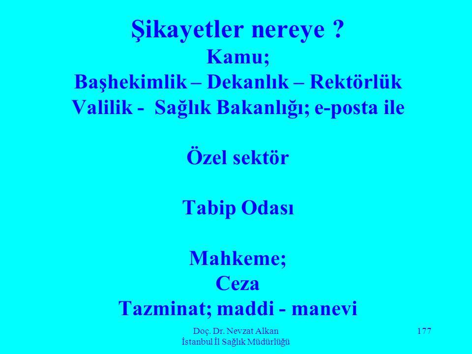 Doç. Dr. Nevzat Alkan İstanbul İl Sağlık Müdürlüğü 177 Şikayetler nereye ? Kamu; Başhekimlik – Dekanlık – Rektörlük Valilik - Sağlık Bakanlığı; e-post