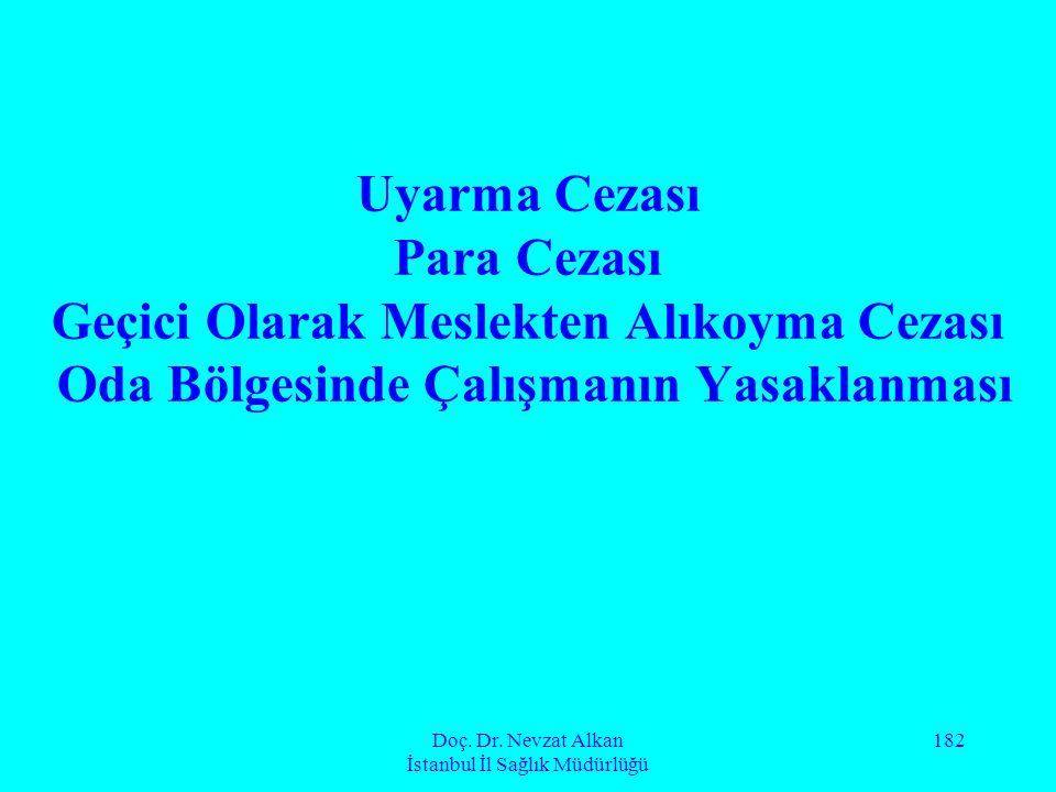 Doç. Dr. Nevzat Alkan İstanbul İl Sağlık Müdürlüğü 182 Uyarma Cezası Para Cezası Geçici Olarak Meslekten Alıkoyma Cezası Oda Bölgesinde Çalışmanın Yas
