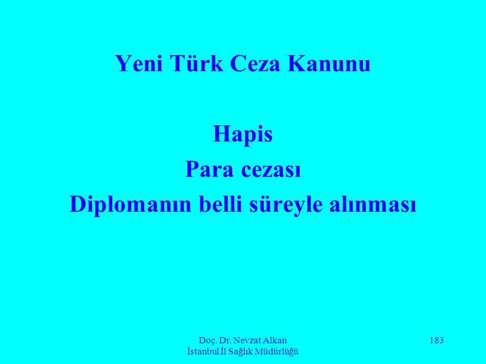 Doç. Dr. Nevzat Alkan İstanbul İl Sağlık Müdürlüğü 183 Yeni Türk Ceza Kanunu Hapis Para cezası Diplomanın belli süreyle alınması