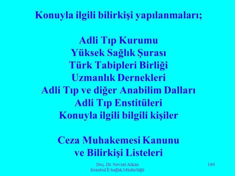 Doç. Dr. Nevzat Alkan İstanbul İl Sağlık Müdürlüğü 189 Konuyla ilgili bilirkişi yapılanmaları; Adli Tıp Kurumu Yüksek Sağlık Şurası Türk Tabipleri Bir