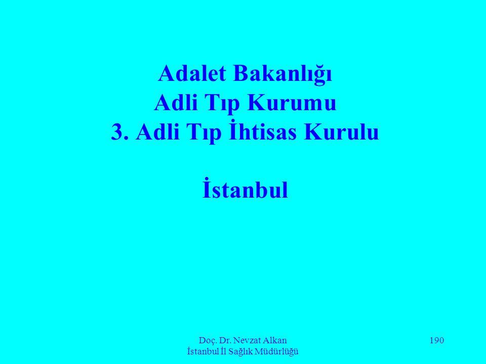 Doç. Dr. Nevzat Alkan İstanbul İl Sağlık Müdürlüğü 190 Adalet Bakanlığı Adli Tıp Kurumu 3. Adli Tıp İhtisas Kurulu İstanbul