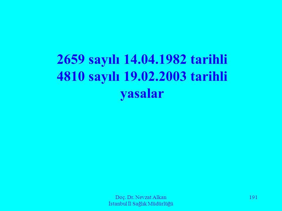 Doç. Dr. Nevzat Alkan İstanbul İl Sağlık Müdürlüğü 191 2659 sayılı 14.04.1982 tarihli 4810 sayılı 19.02.2003 tarihli yasalar