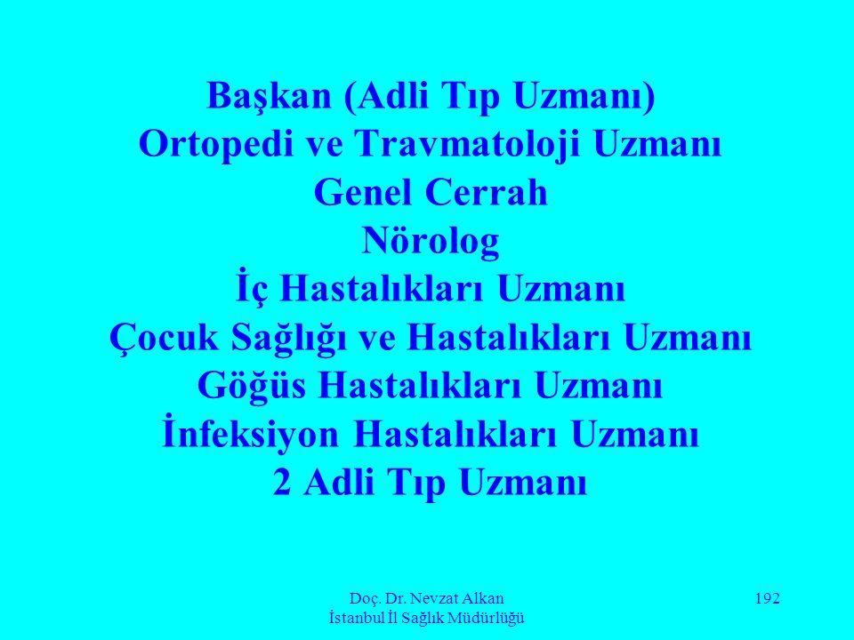 Doç. Dr. Nevzat Alkan İstanbul İl Sağlık Müdürlüğü 192 Başkan (Adli Tıp Uzmanı) Ortopedi ve Travmatoloji Uzmanı Genel Cerrah Nörolog İç Hastalıkları U