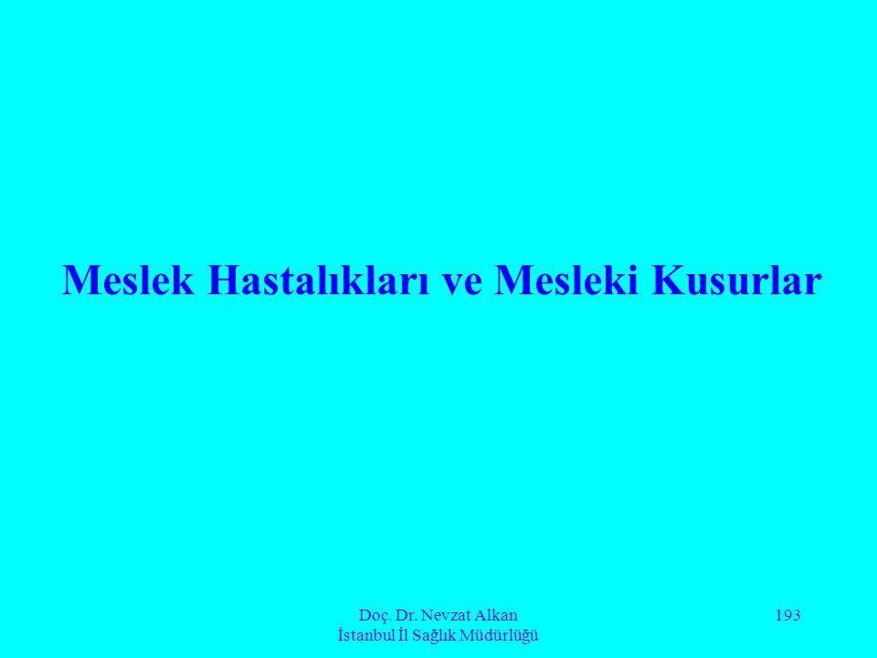 Doç. Dr. Nevzat Alkan İstanbul İl Sağlık Müdürlüğü 193 Meslek Hastalıkları ve Mesleki Kusurlar