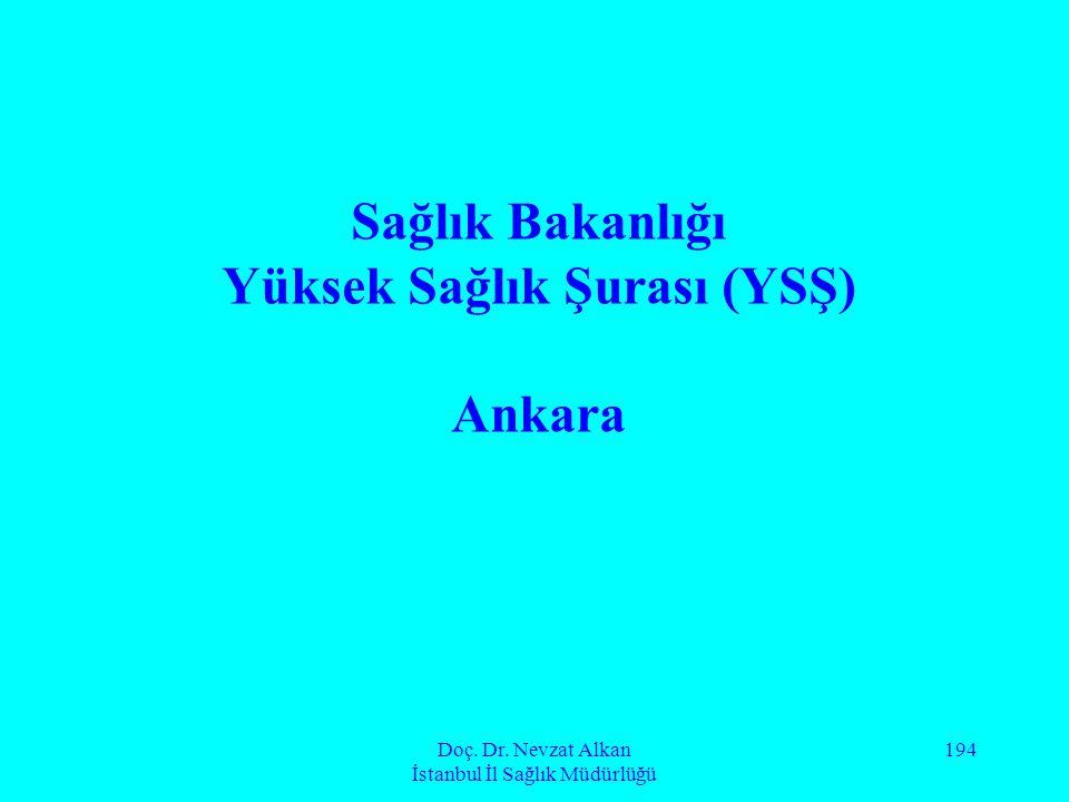 Doç. Dr. Nevzat Alkan İstanbul İl Sağlık Müdürlüğü 194 Sağlık Bakanlığı Yüksek Sağlık Şurası (YSŞ) Ankara