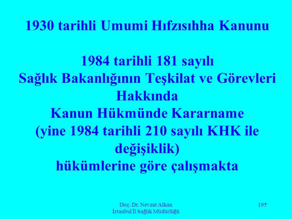 Doç. Dr. Nevzat Alkan İstanbul İl Sağlık Müdürlüğü 195 1930 tarihli Umumi Hıfzısıhha Kanunu 1984 tarihli 181 sayılı Sağlık Bakanlığının Teşkilat ve Gö