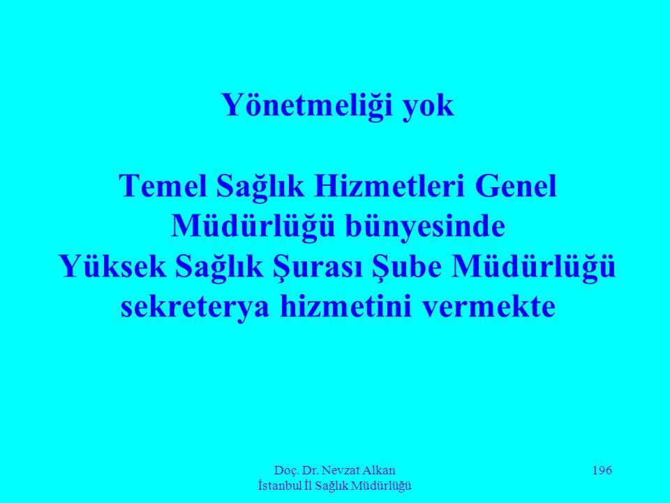 Doç. Dr. Nevzat Alkan İstanbul İl Sağlık Müdürlüğü 196 Yönetmeliği yok Temel Sağlık Hizmetleri Genel Müdürlüğü bünyesinde Yüksek Sağlık Şurası Şube Mü