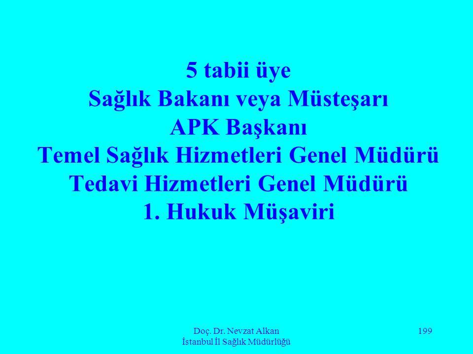 Doç. Dr. Nevzat Alkan İstanbul İl Sağlık Müdürlüğü 199 5 tabii üye Sağlık Bakanı veya Müsteşarı APK Başkanı Temel Sağlık Hizmetleri Genel Müdürü Tedav