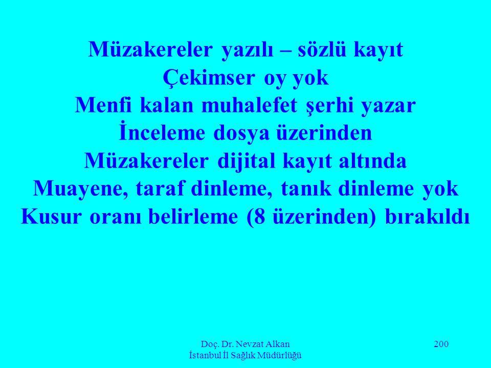 Doç. Dr. Nevzat Alkan İstanbul İl Sağlık Müdürlüğü 200 Müzakereler yazılı – sözlü kayıt Çekimser oy yok Menfi kalan muhalefet şerhi yazar İnceleme dos