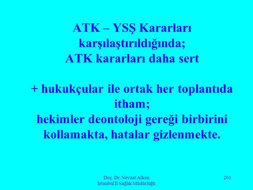 Doç. Dr. Nevzat Alkan İstanbul İl Sağlık Müdürlüğü 201 ATK – YSŞ Kararları karşılaştırıldığında; ATK kararları daha sert + hukukçular ile ortak her to