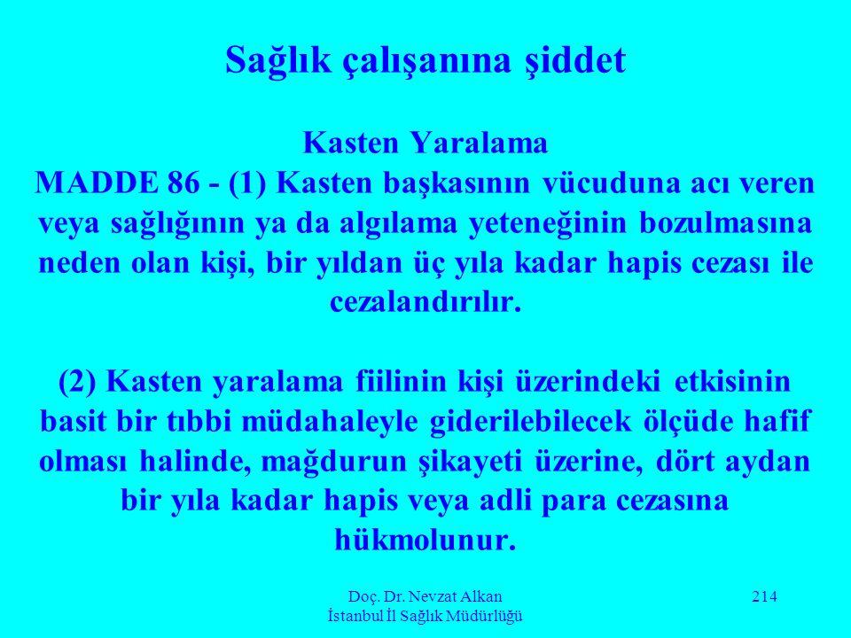 Doç. Dr. Nevzat Alkan İstanbul İl Sağlık Müdürlüğü 214 Sağlık çalışanına şiddet Kasten Yaralama MADDE 86 - (1) Kasten başkasının vücuduna acı veren ve