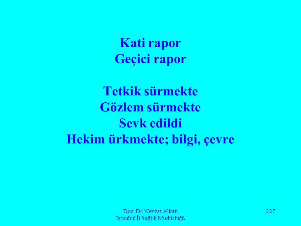 Doç. Dr. Nevzat Alkan İstanbul İl Sağlık Müdürlüğü 227 Kati rapor Geçici rapor Tetkik sürmekte Gözlem sürmekte Sevk edildi Hekim ürkmekte; bilgi, çevr