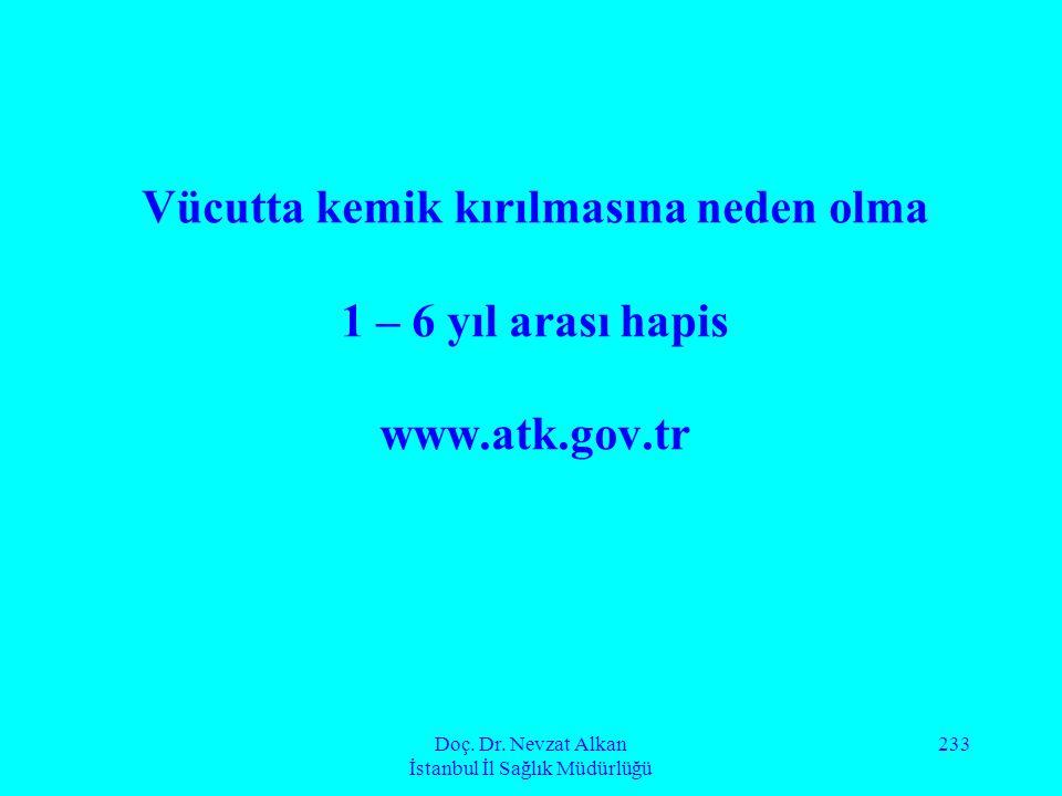 Doç. Dr. Nevzat Alkan İstanbul İl Sağlık Müdürlüğü 233 Vücutta kemik kırılmasına neden olma 1 – 6 yıl arası hapis www.atk.gov.tr