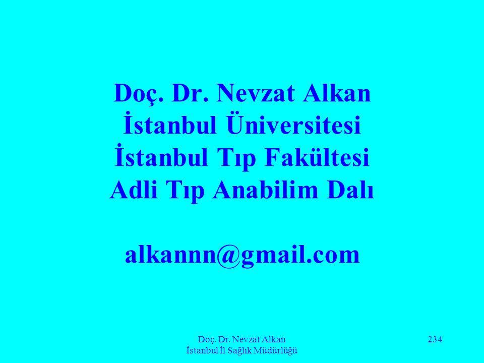 Doç. Dr. Nevzat Alkan İstanbul İl Sağlık Müdürlüğü 234 Doç. Dr. Nevzat Alkan İstanbul Üniversitesi İstanbul Tıp Fakültesi Adli Tıp Anabilim Dalı alkan
